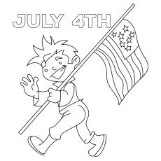 Menino andando com a bandeira em 4 de julho de 317
