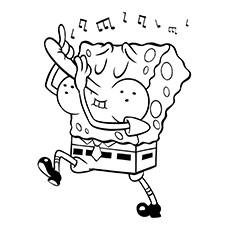 Desenho de Flauta para colorir - Bob Esponja tocando flauta com o nariz