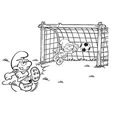 Desenho de Smurfs jogando futebol com amigos para colorir