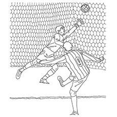 Jogador de futebol chutando a bola na cor do gol para imprimir
