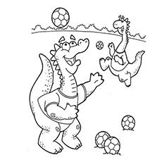 Dinossauros jogando futebol para colorir