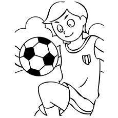 Páginas para colorir de menino fazendo truques com bola de futebol