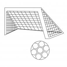 Rede e bola de futebol