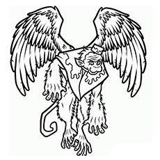 Imagem bonita de macaco alado para colorir