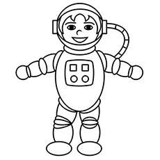 Astronauta sorridente, vestido com coloração uniforme