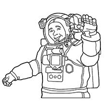 Desenho de astronauta acenando as mãos