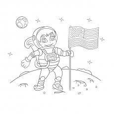 Astronauta na lua com bandeira