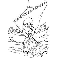 Desenho de menino pescando com rede para colorir
