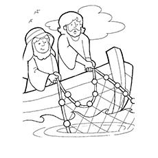 Jesus com Simão pescando peixes para colorir