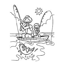 Desenhos de pescador com seu filho para colorir