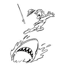 Desenho de Tubarão perseguindo um pescador