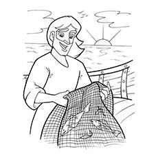 Desenho de Pedro o pescador para colorir