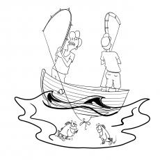 Página para colorir engraçada de um pescador