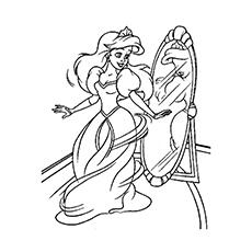 Princesa lindamente vestida na frente do espelho para colorir