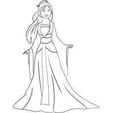 Mulan Princess Sheet para colorir para crianças