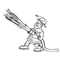 Desenho de bombeiro com mangueira de incêndio para colorir