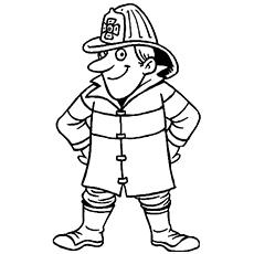 Página de colorir bombeiro engraçado para crianças