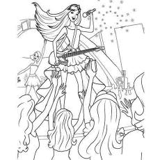 Desenho de Barbie, a princesa e a estrela pop para colorir