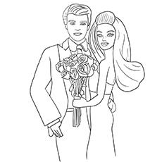 Barbie e Ken para colorir para meninas