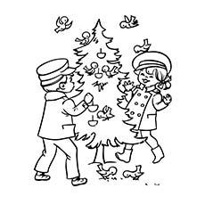 Página para colorir de imprimir, alimentando-se de árvore de Natal