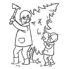 Desenho de Pai cortando a árvore de Natal para colorir