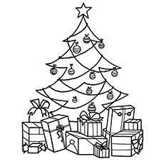 Árvore de natal cheia de presentes em um dia especial Página para colorir
