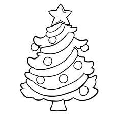 Desenho de Árvore de Natal brilhante para colorir