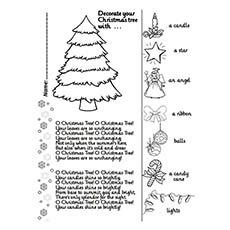 Contorno da árvore de Natal para impressão Oh para colorir