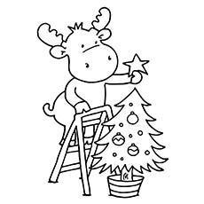 Rena Árvore De Natal Decoração Para Colorir Imagens