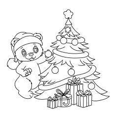 Teddy decorando a árvore
