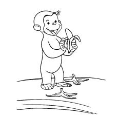 Desenho de Macaco sujando a estrada com casca de banana para colorir