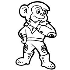 Desenhos para colorir imprimíveis de macaco apresentados como um super-herói