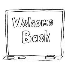 Bem-vindo de volta escrito no quadro-negro para colorir
