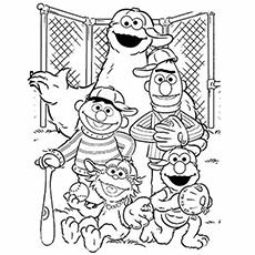 Desenhos de Elmo e seus amigos jogando beisebol para colorir