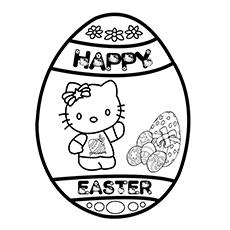 Desenho de Hello Kitty no ovo de Páscoa para colorir