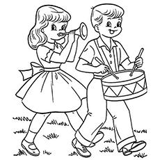 Desenhos para colorir de meninos e meninas tocando instrumentos em 4 de julho