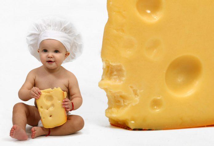 Apresentando queijo para bebês