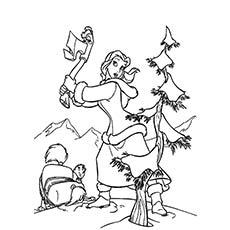 Belle cortando a árvore de Natal para colorir
