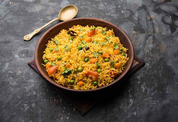 Receita vegetal de Pulav Masoor