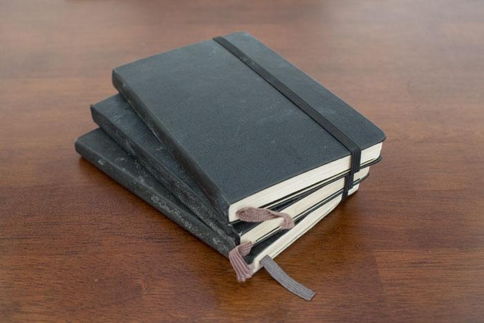 Caderno Moleskine que uso no meu diário de exercícios.